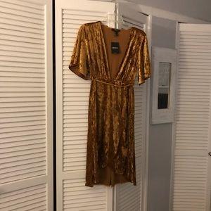 Mustard velvet dress